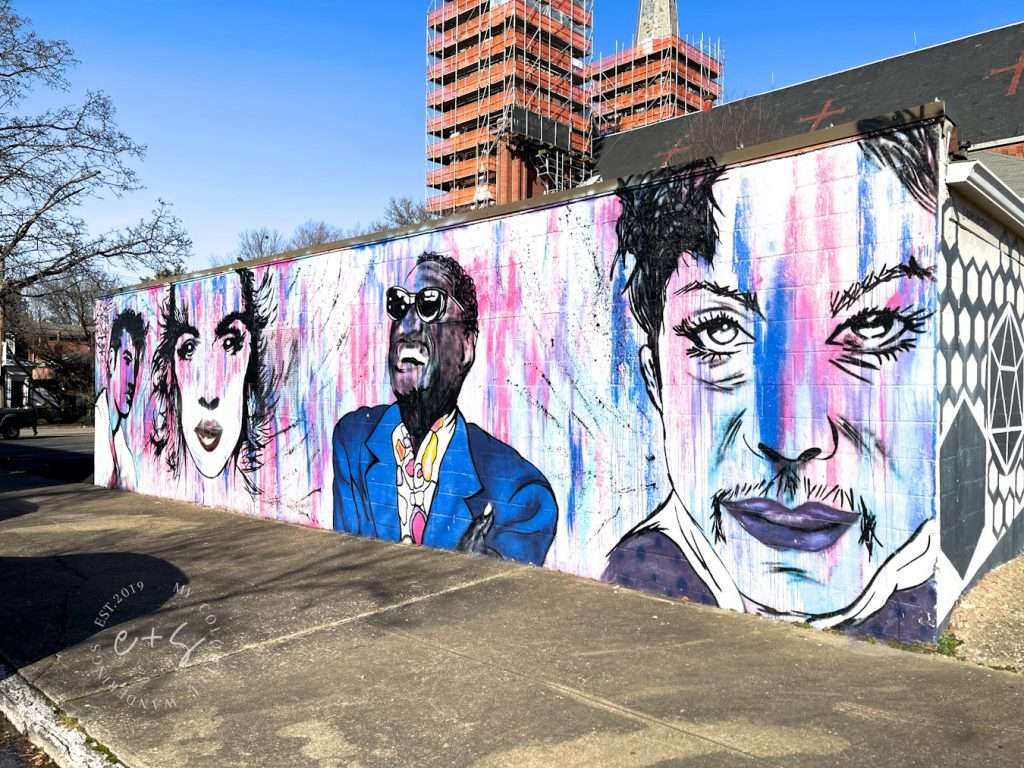 Love Has No Color Mural Louisville Murals Pink and Blue Faces Mural