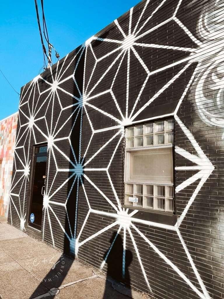 Black and White Geometric Mural - Louisville Murals