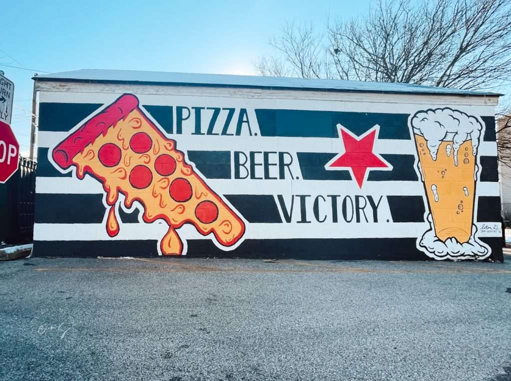 pizza beer victory mural at the post louisville kentucky
