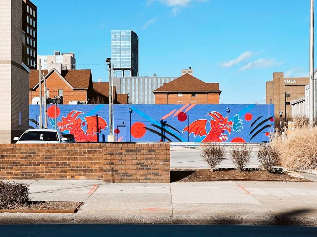 Blue and Red Dragons Mural Louisville Murals