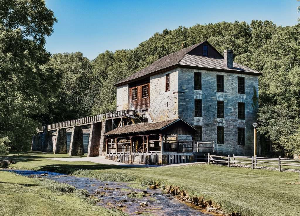 Spring Mill Park in Indiana is another scenic destination for a day trip from Louisville