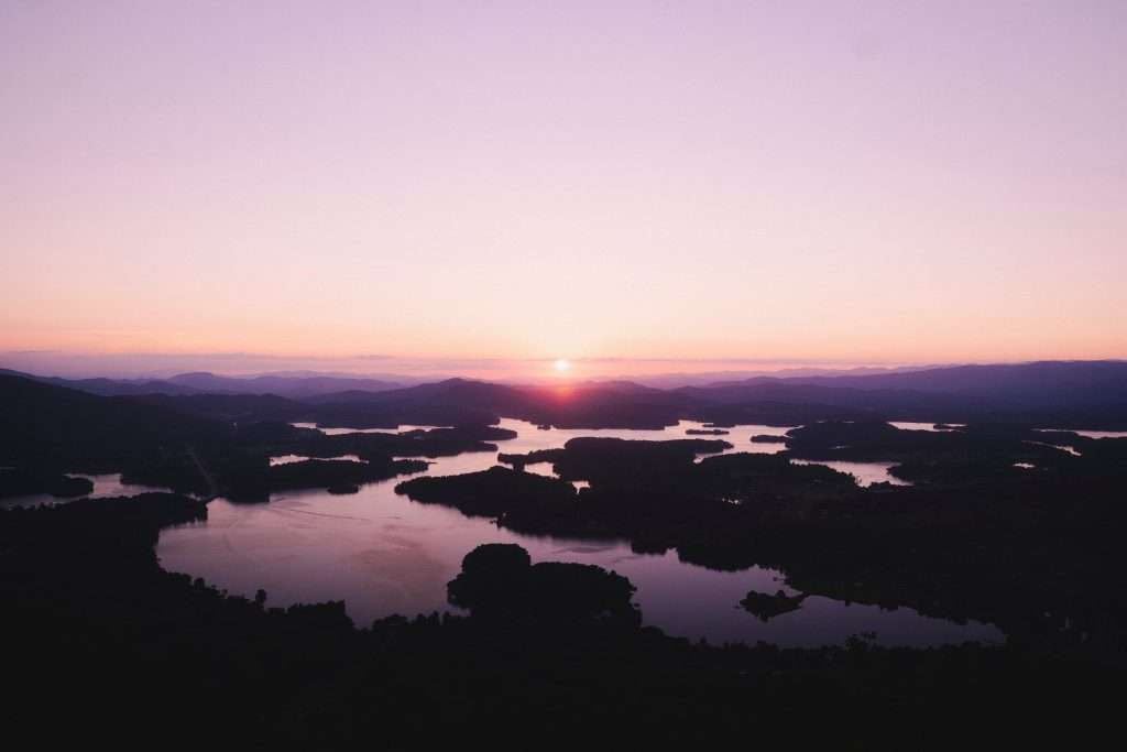 SUNSET OVER LAKE CHATUGE FROM BELL MOUNTAIN OVERLOOK