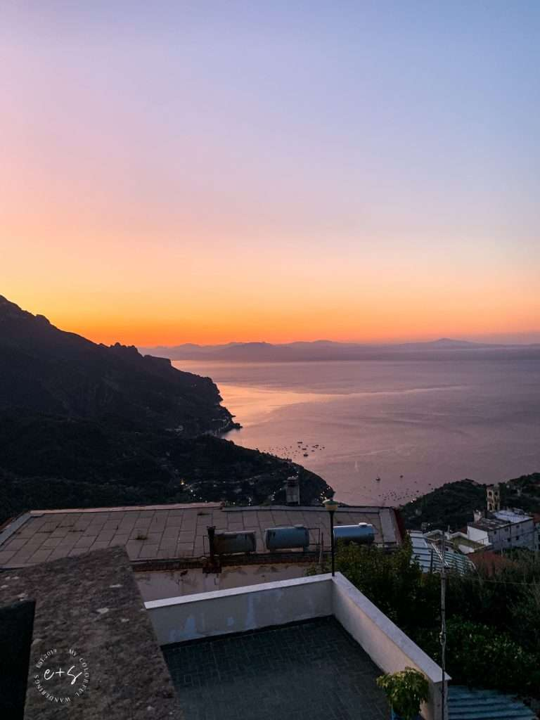 catching a sunrise over ravello, italy. Best places in Italy, romantic italy, romantic places in Italy, honeymoon destinations in Italy, romantic things to do in Italy