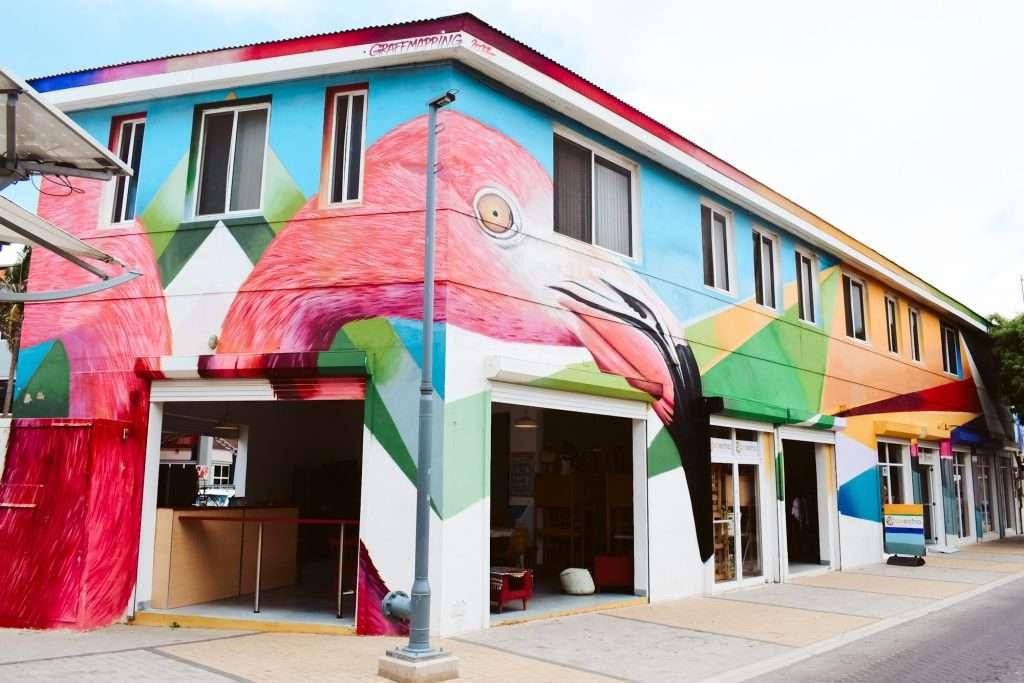 two story flamingo mural in aruba, what to do in Aruba, san nicolas aruba itinerary